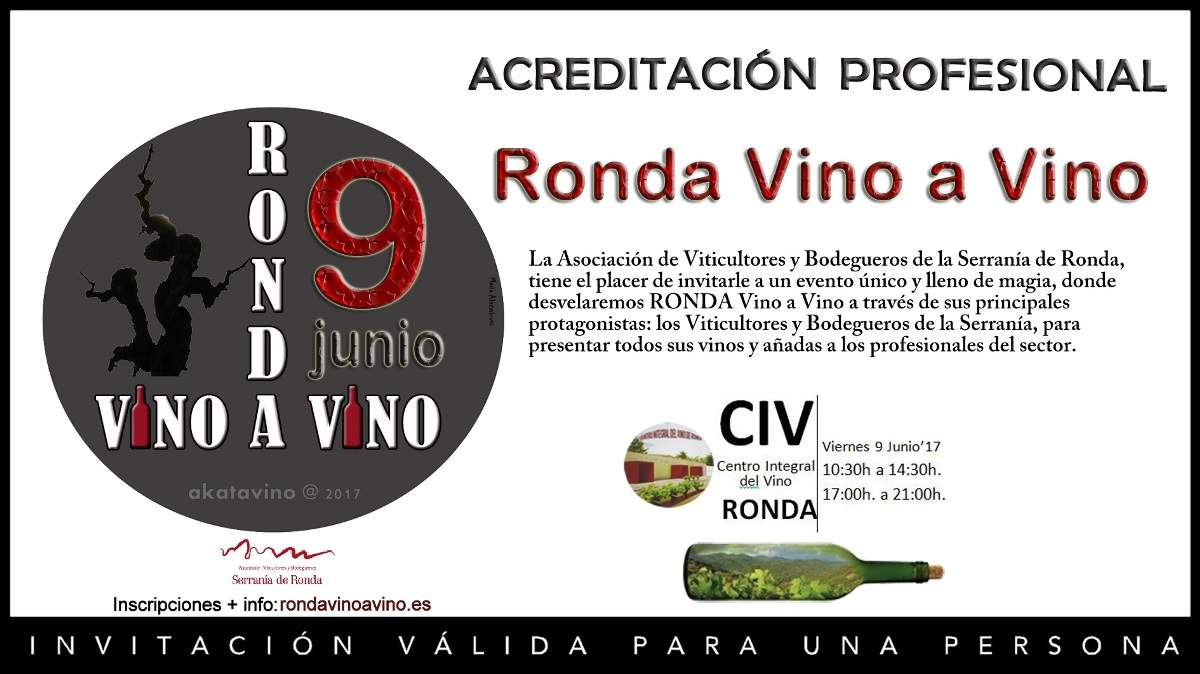 Invitacion profesional RONDA Vino a Vino 9 JUN 2017
